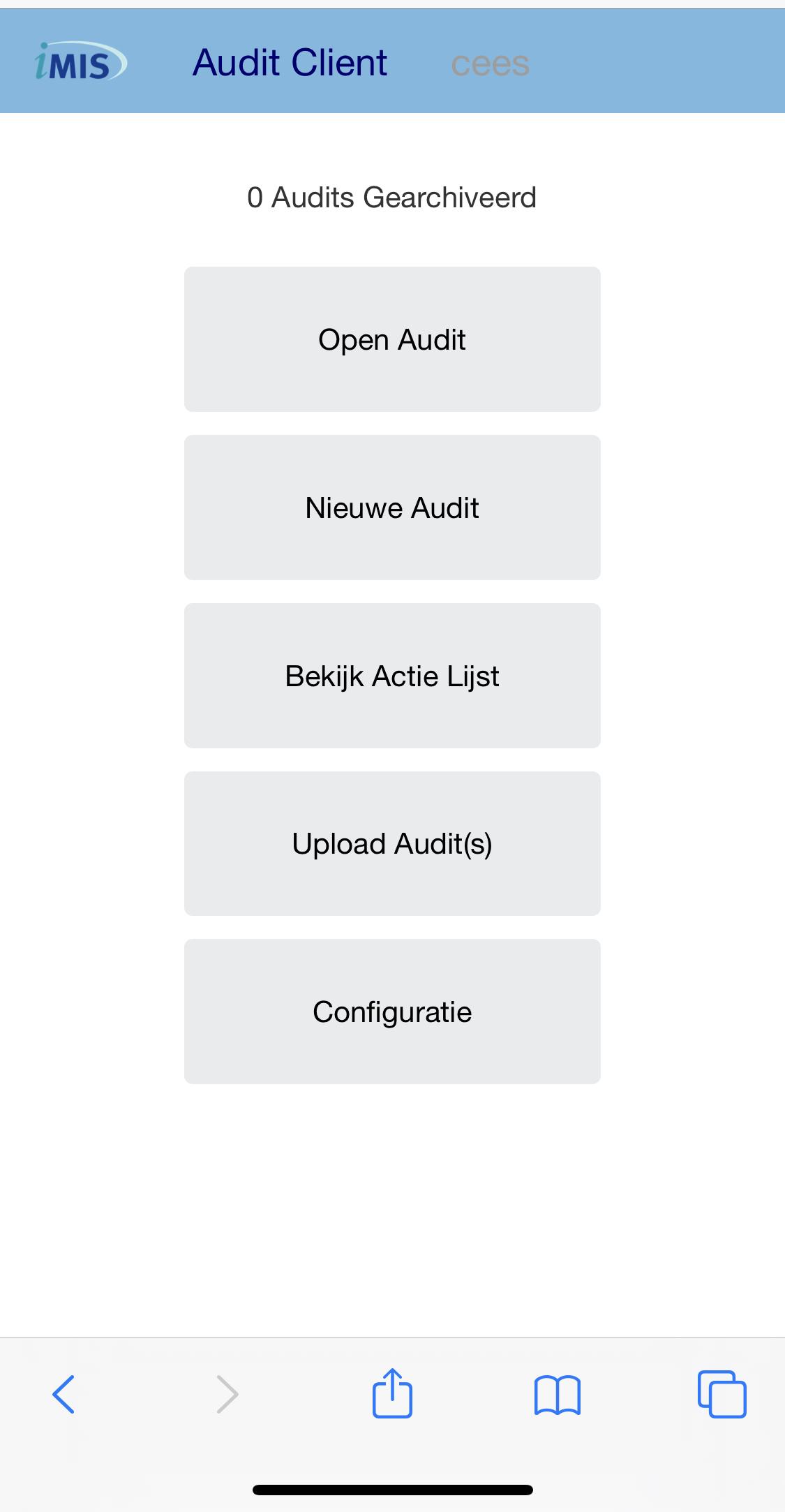 iMIS audit overzicht screenshot