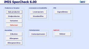 SpecCheck iMIS Food overview