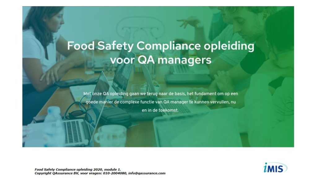 Food Safety Compliance opleiding presentatie dag 1