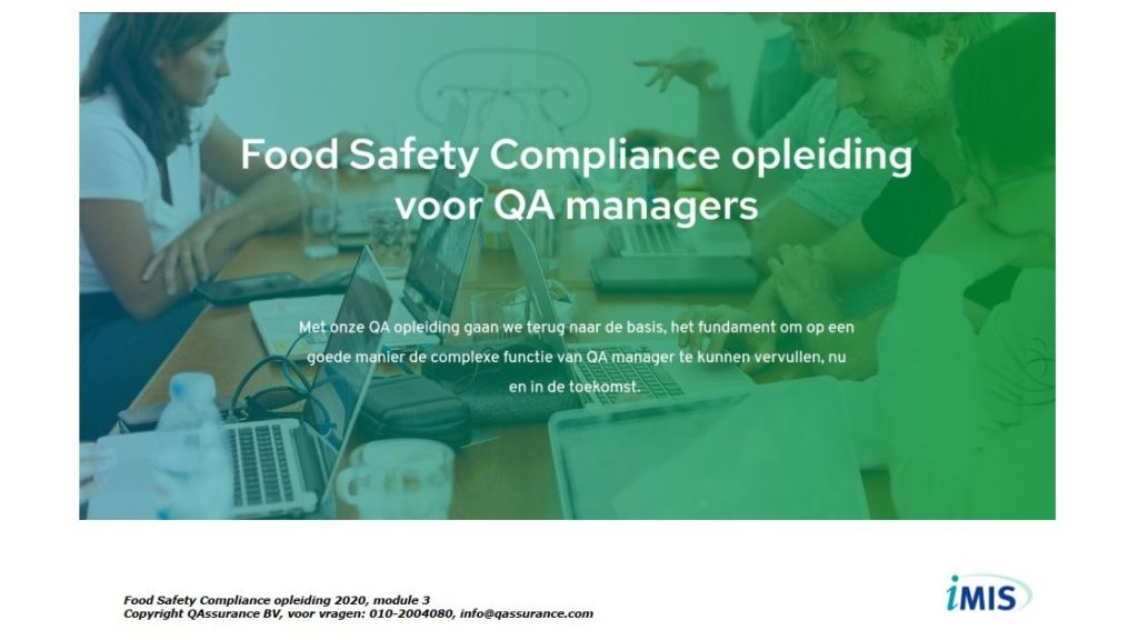 Food Safety Compliance opleiding presentatie dag 3