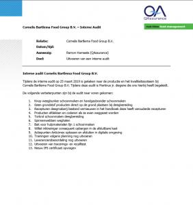 Interne audit voedsel