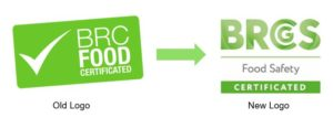 Old versus new BRC Food logo