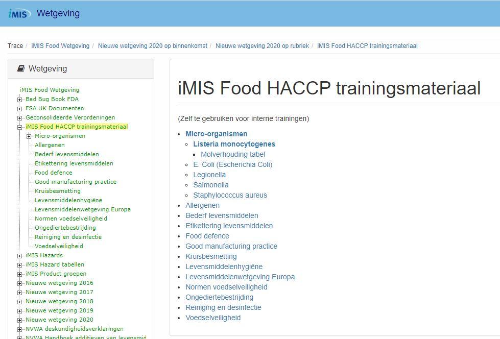 iMIS HACCP Trainingsmateriaal