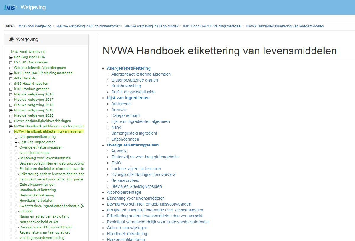 iMIS NVWA Handboek etikettering van levensmiddelen