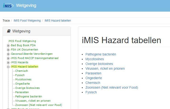 iMIS gevaren tabellen